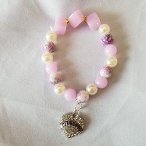 Diabetic Heart Charm Bracelet Pink White Beads